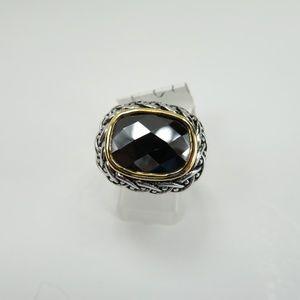 925 Silver Ring Black CZ Diamond